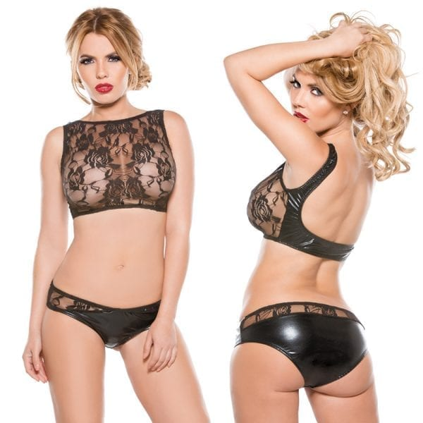 Kitten Wet Look Corset Top-Black O/S - AL11-6502K-30-5