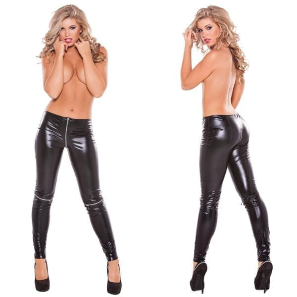 Kitten Wet Look Zipper Leggings-Black O/S - AL16-5022K-30-5
