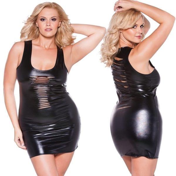 Kitten Wet Look Risque Dress-Black O/S X - AL17-1082XK-30-15