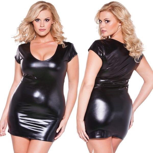 Kitten Wet Look Flirty Dress-Black O/S X - AL17-2602XK-30-15