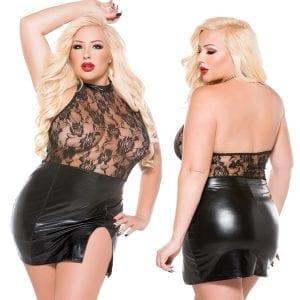 Kitten Wet Look Halter Dress-Black O/S X - AL17-3602XK-30-15