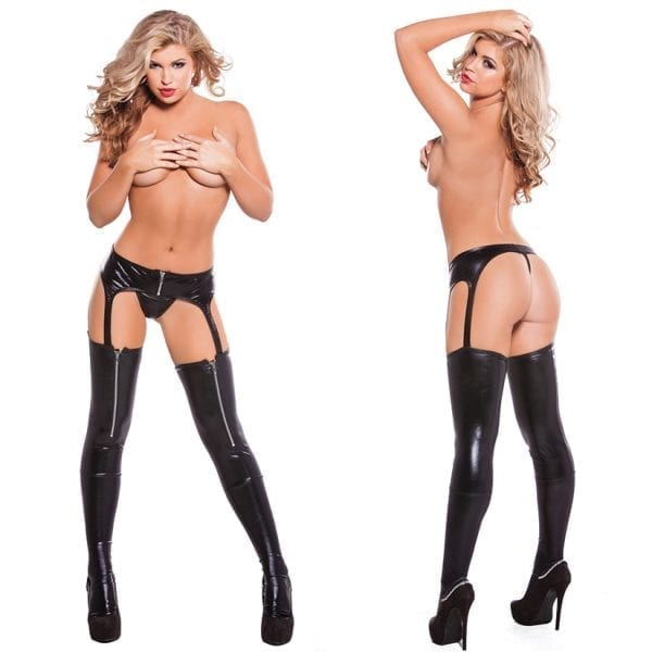 Kitten Wet Look Garter Tight & G-String-Black O/S - AL7-5022K-30-5