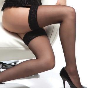 Coquette Thigh High Sheer Lace Top Stockings-Black O/S X - CQ1726-30-15