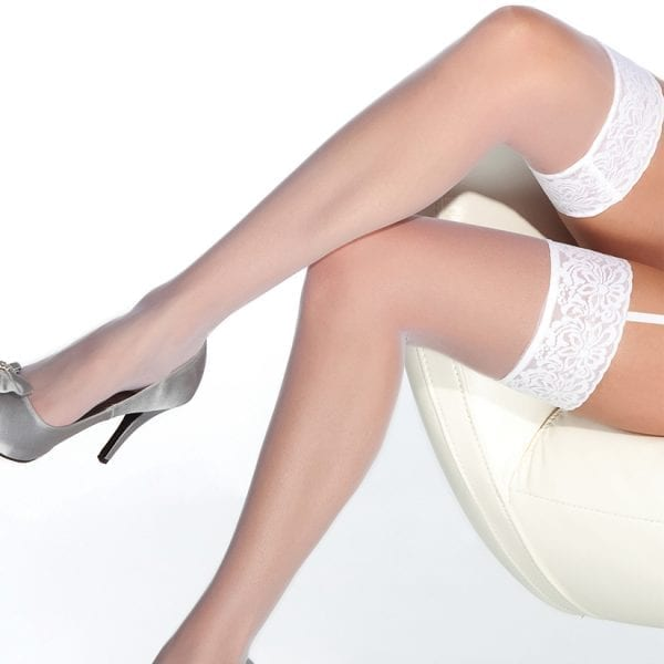 Coquette Thigh High Sheer Lace Top Stockings-White O/S - CQ1726-40-5