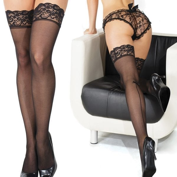 Coquette Thigh High Sheer Scalloped Lace Stockings-Black O/S - CQ1795-30-5