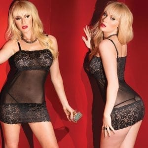 Kissable Mesh Tube Dress W/ Lace Hem-Black O/S - CQ2413-30-5