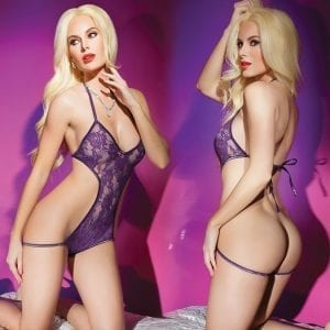 Kissable Lace Crotchless Teddy-Purple O/S - CQ2446-34-5
