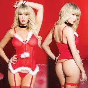 Coquette Kissable Santa Teddy & G-String-Red O/S X - CQ2453-31-15