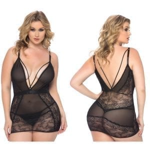Viviane V-Plunge Lace Babydoll With G-String-Black Small - OH70-10389-30-1