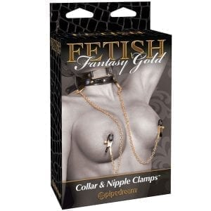 Fetish Fantasy Gold Collar & Nipple Clamps - PD3979-23