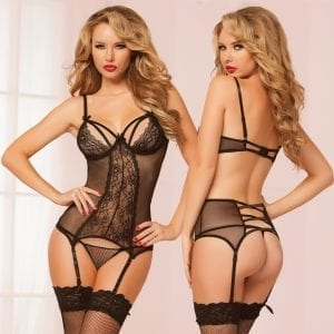 Double Dare Merrywidow Floral Galloon Lace Chemise-Black O/S - STM10501P-30-5