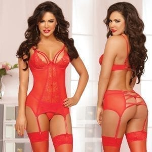 Double Dare Merrywidow Floral Galloon Lace Chemise-Red O/S - STM10501P-31-5