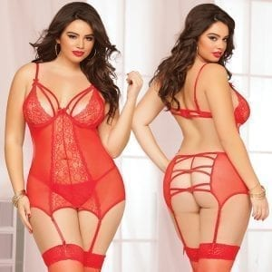 Double Dare Merrywidow Floral Galloon Lace Chemise-Red O/S X - STM10501XP-31-15