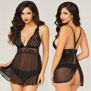 Wondrous Floral Galloon Lace Babydoll 2 Piece-Black L/XL - STM10672-30-7