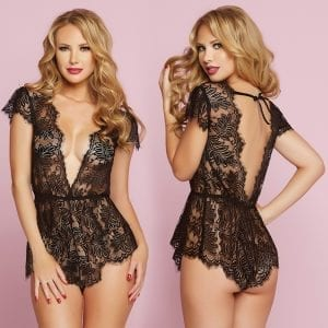 Temptation Eyelash Lace Romper-Black Large - STM10718-30-3
