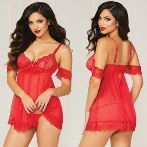 Luminary Floral Lace Baby Doll Set-Red X-Large    [Regular Price 13.00] - STM10829-31-4