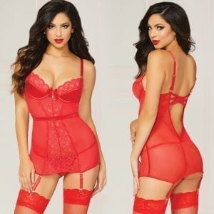 Crimson Crush Chemise Stretch Lace Satin-Red Large - STM10837-31-3