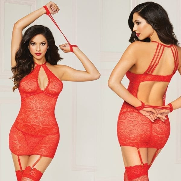 Floral Lace Chemise 3pc Set-Red O/S - STM10844P-31-5